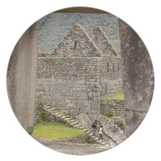South America, Peru, Machu Picchu. Two tourists Melamine Plate