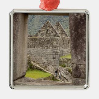 South America, Peru, Machu Picchu. Two tourists Metal Ornament
