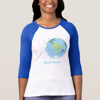 South-America, view of the world. Colourfull icons T-Shirt