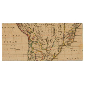 South America with boundaries outlined Wood USB 2.0 Flash Drive
