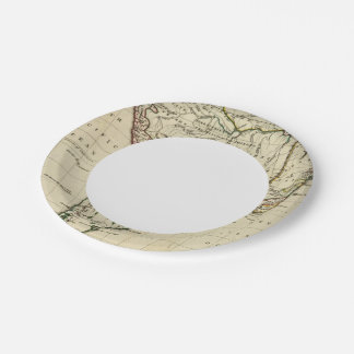 South America with boundaries outlined Paper Plate