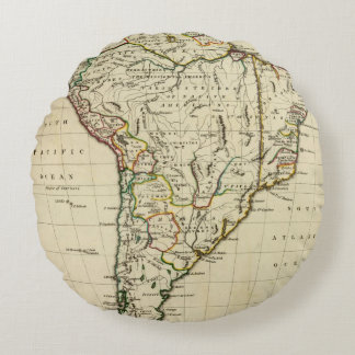 South America with boundaries outlined Round Pillow
