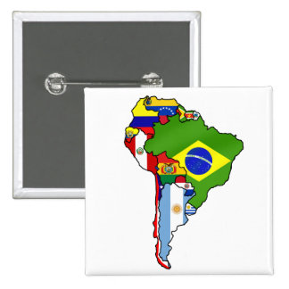 South American flags of South America Map 2 Inch Square Button