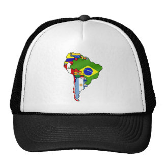 South American flags of South America Map Trucker Hats