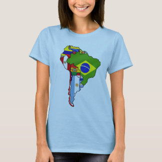 South American flags of South America Map T-Shirt