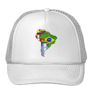 South American flags of South America Map Trucker Hat