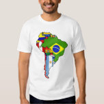 South American flags of South America Map Tshirts