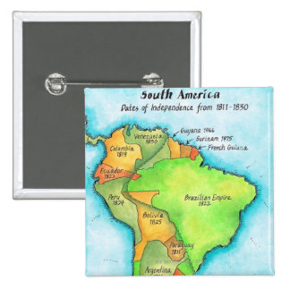 South American Independence 2 Inch Square Button
