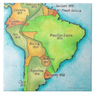 South American Independence Large Square Tile