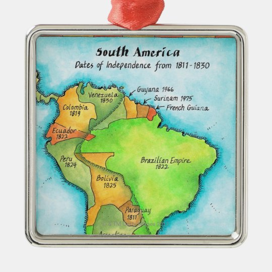 South American Independence Metal Ornament