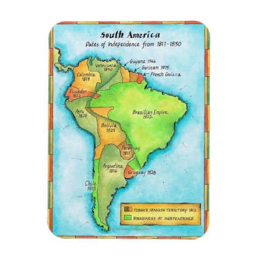 South American Independence Rectangle Magnets