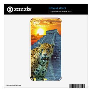 South American Jaguar & Mayan Chichen Itza Temple iPhone 4S Decals