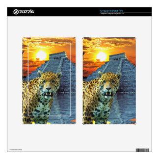 South American Jaguar & Mayan Chichen Itza Temple Kindle Fire Skin