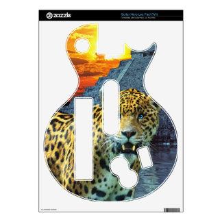 South American Jaguar & Mayan Chichen Itza Temple Decal For Guitar Hero