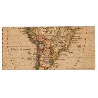 South American Map Wood USB 2.0 Flash Drive