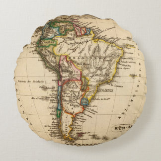 South American Map Round Pillow