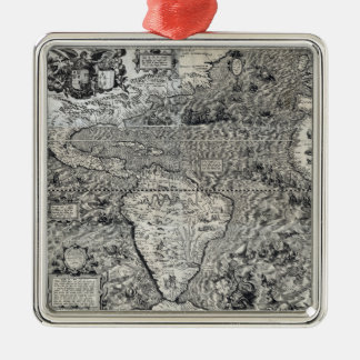 South and Part of North America - Panoramic Metal Ornament
