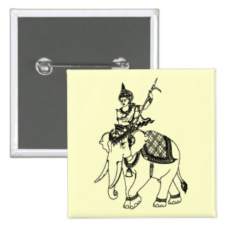 SOUTH ASIAN ART GOD ON ELEPHANT 2 INCH SQUARE BUTTON