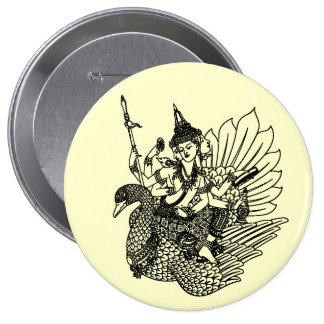 SOUTH ASIAN ART GOD ON PEACOCK 4 INCH ROUND BUTTON