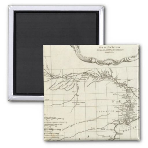 South Asian Engraved Map 2 Inch Square Magnet