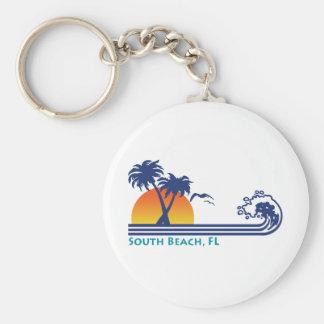 South Beach Basic Round Button Keychain