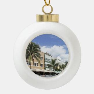 South Beach Ceramic Ball Christmas Ornament