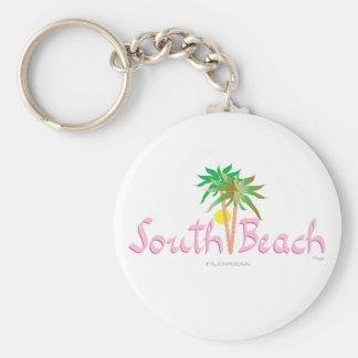 South Beach, FL Basic Round Button Keychain