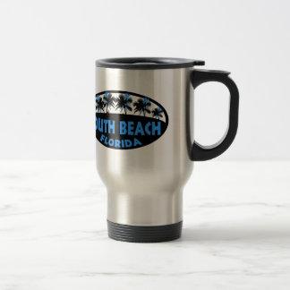 South Beach Florida blue black palms Travel Mug