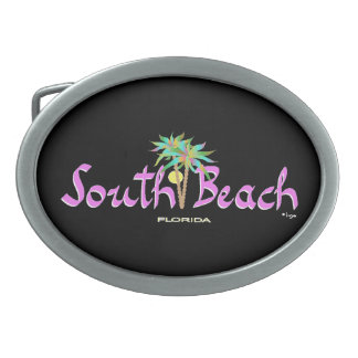 South Beach, Florida Turquoise Cool Oval Belt Buckle