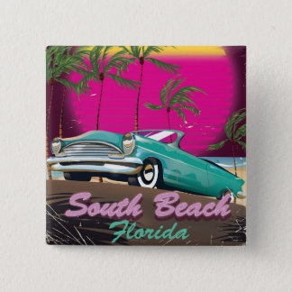 South Beach Florida vintage travel print Button