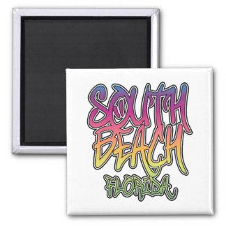 South Beach Graffiti 2 Inch Square Magnet