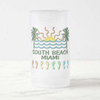 South Beach Miami 16 Oz Frosted Glass Beer Mug