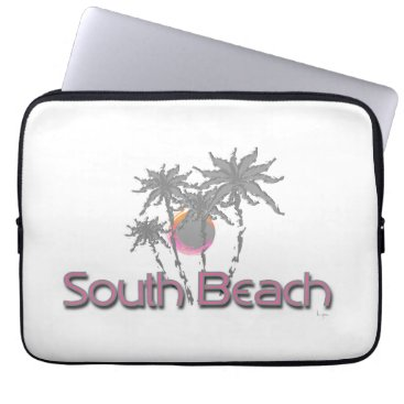 Beach Themed South Beach Miami Black Cool Graphic Laptop Sleeve