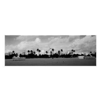 South Beach Miami, Florida Black/White Panorama Poster