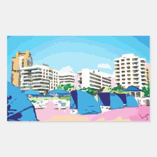 SOUTH BEACH, MIAMI, FLORIDA RECTANGULAR STICKER