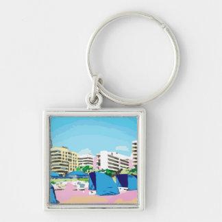 SOUTH BEACH, MIAMI, FLORIDA Silver-Colored SQUARE KEYCHAIN