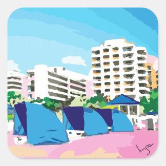 SOUTH BEACH, MIAMI, FLORIDA SQUARE STICKER