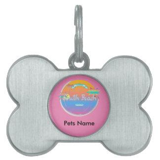 South Beach, Miami, Florida with Palms Pet Tag