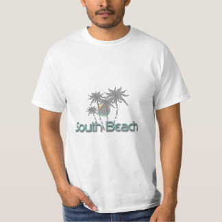 South Beach Miami Grey Palms and Sun T Shirt