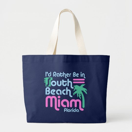 South Beach Miami Large Tote Bag