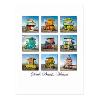 South Beach, Miami Life Guard Shacks Postcard