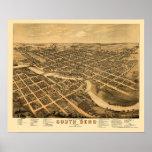 South Bend, EN el mapa panorámico - 1874 Posters