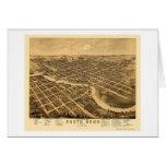 South Bend, EN el mapa panorámico - 1874 Tarjeta De Felicitación