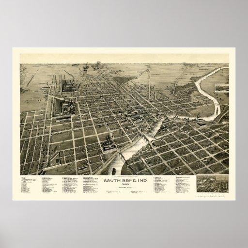 South Bend, EN el mapa panorámico - 1890 Posters