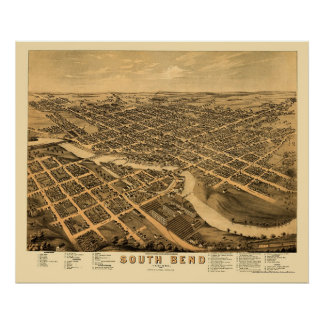 South Bend IN Panoramic Map - 1874 Poster
