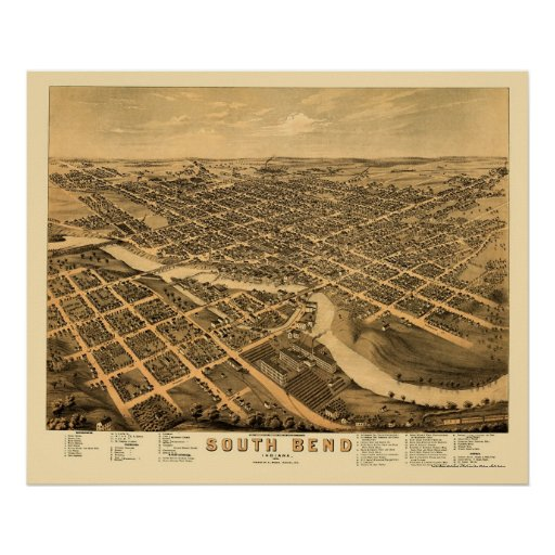 South Bend, IN Panoramic Map - 1874 Poster