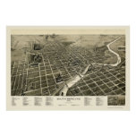 South Bend, IN Panoramic Map - 1890 Poster