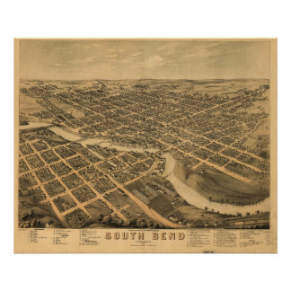 South Bend Indiana 1874 Antique Panoramic Map Poster