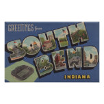 South Bend, Indiana - Large Letter Scenes Poster