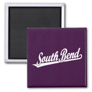 South Bend script logo in white 2 Inch Square Magnet